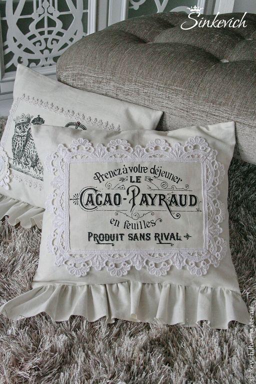"""Купить Подушки """"Белый винтаж"""" - белый, подарок, подушка декоративная, винтажный стиль, декор для интерьера"""