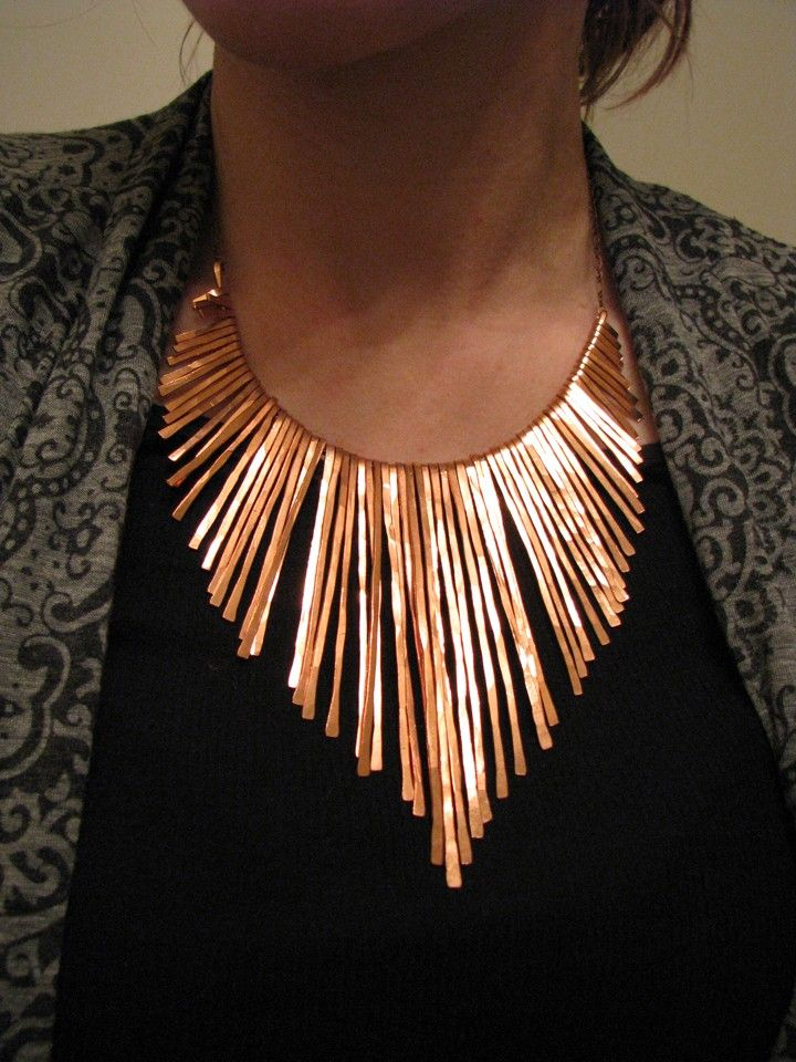 Copper Fringe Necklace - Athena - Copper Collar - Handmade -  larger - smooth edge contour
