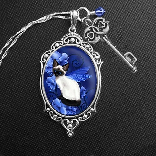 Fairy Cat Cameo with Key Charm-- Birthstone Fairy Cats -- Sapphire by Melissa Dawn Art