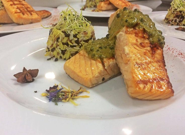 Salmon fillet with yogurt, orange, honey, saffron and whiskey. Santorini Weddings, Wedding venue, Wedding ceremony and reception, Sunset view, wedding menu.