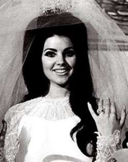 Young Priscilla Presley in her Wedding Dress