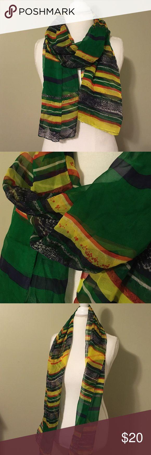 Anne Klein will scarf Beautiful condition silk scar by Anne Klein. Green, cream, yellow, red, and snakeskin stripes. Anne Klein Accessories Scarves & Wraps