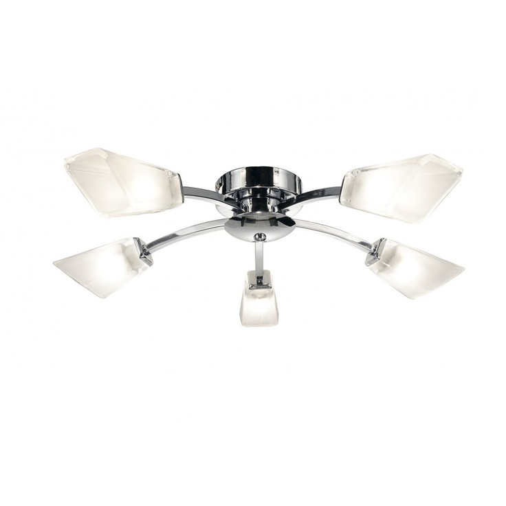 Dar lighting wolsey 5 light ceiling fitting in polished chrome with glass shades lighting type