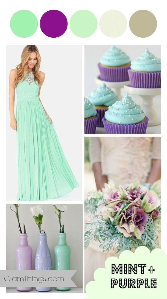 Purple and mint wedding color palette is delicate and mysterious at the same time. http://glamthings.com/purple-and-mint-wedding/