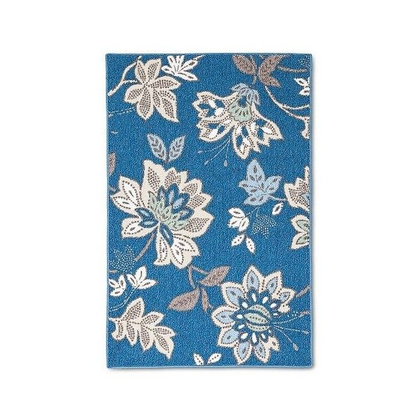 "Threshold Cool Floral Printed Kitchen Rug 30x46"", Blue"