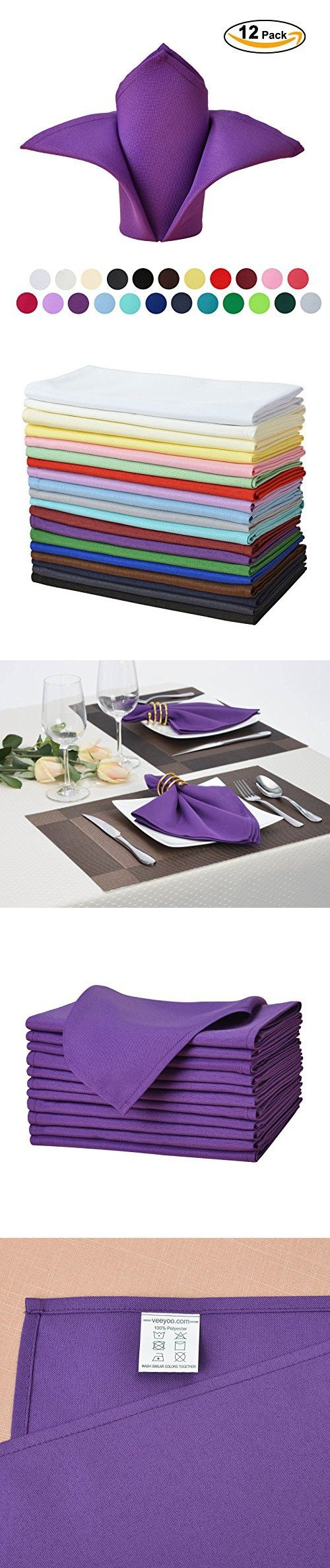 "VEEYOO Oversized 20x20"" Solid Polyester Napkins for Wedding Restaurant Dinner Use Machine Washable Durable Set of 12, Purple"