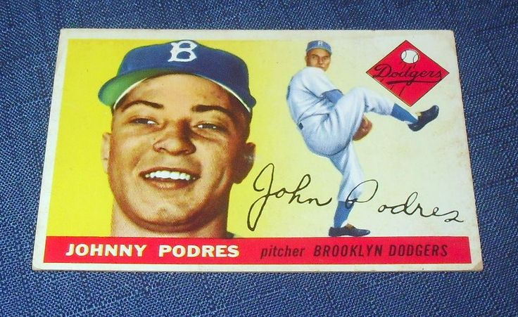 topps 1955 baseball cards | 1955 Topps Baseball Card Johnny Podres 25 BV $25 VG EX 2213 | eBay