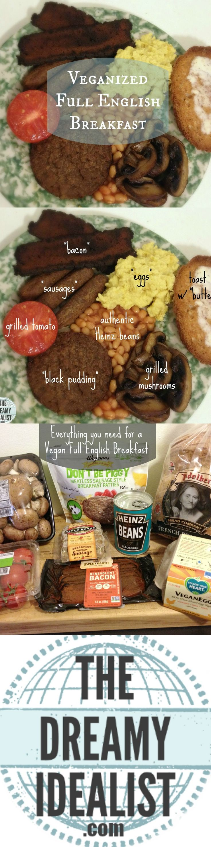 I've long heard of the famous Full English Breakfast (aka 'The Full English' or 'Fry Up') and we decided to give it a go.  With our cuppas in hand, my husband and I set out to veganize it (best as two Americans could).