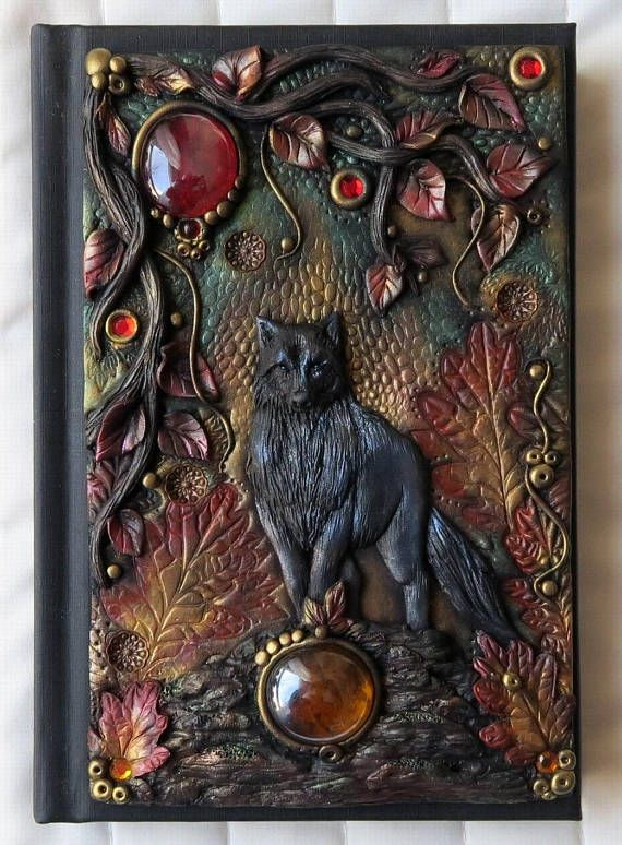 Autumn Wolf polymer journal fantasy forest tree leaves