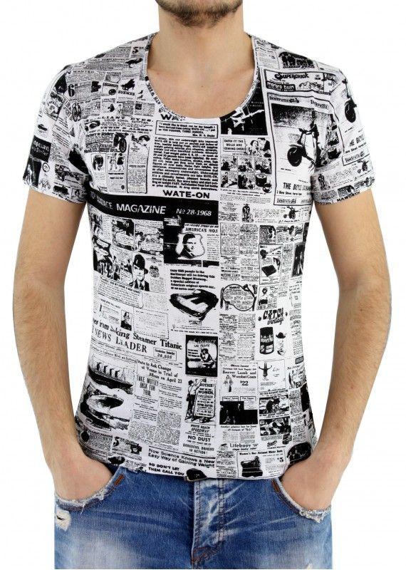Desenli Geniş Yaka Tişört