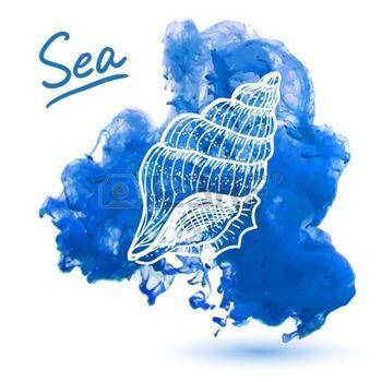 plongée sous marine dessin: Sea shell sur un fond d'aquarelle. Main originale Illustration dessinée