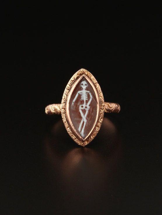 on hold!!--Genuine Victorian memento mori skull skeleton shell cameo navette ring