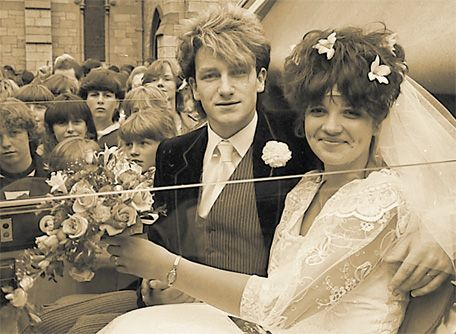 Bono and Ali on their wedding day in 1982...little did she know......lol