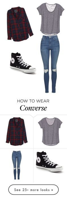 """Converse"" by elisemmathews on Polyvore featuring Rails, Topshop and Converse"