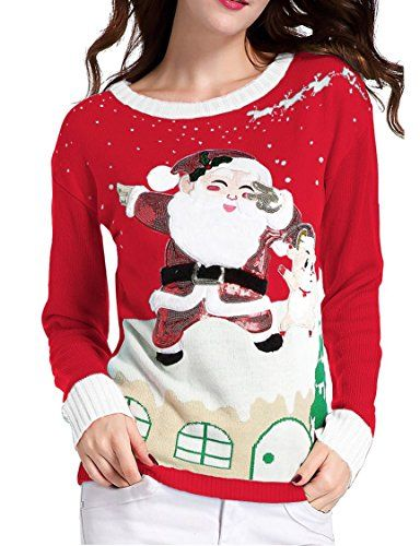 Ugly Christmas Sweater, V28 Women's Ladies Girl Xmas Lighting Santa Deer Jumper(Red M)