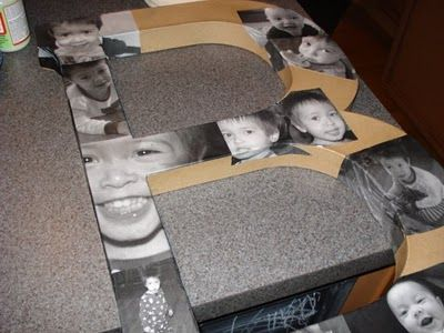 Transforming Home: Mod podge photo letter, photos printed on regular paper, cut out, m.p. on large cardboard letter shape