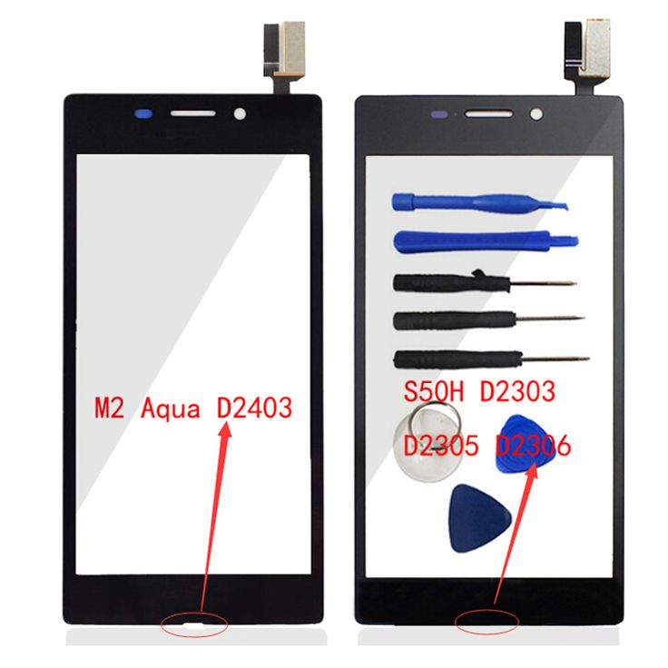 For Sony Xperia M2 S50H / M2 Aqua D2403 Front Touch Screen Panel Digitizer (No LCD) Glass Sensor Flex Cable Lens Repair & Logo
