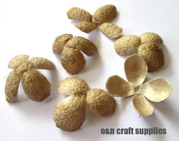 Dyed silk coocoon flowers beige  set of 6 by OandN on Etsy, $5.00  #silkcocoons #craftsupplies #jewelrysupplies