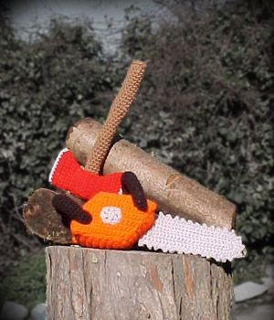 Chainsaw and Axe free crochet pattern by blogger AntiCraft