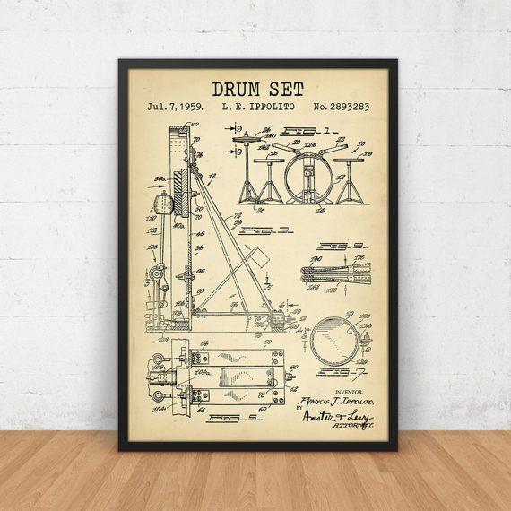 Drum Set Patent Print, digitale Download Muziekbar Decor, muziek Poster afdrukbare, Drummer kunst aan de muur, musicus geschenken, muziekleraar, Big Band