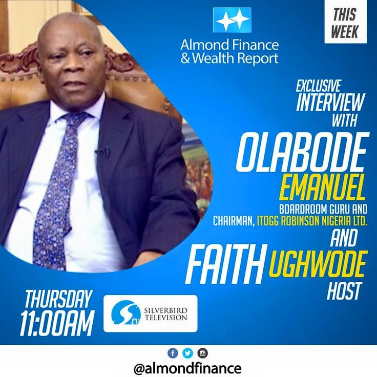It's Happening Live this morning on Silverbird Television / DSTV Channels 252 by 11:00am for the continuation of our One -on - One Interview with Boardroom Guru and Chairman of Hogg Robinson Nigeria Limited Mr Bode Emmanuel as he look at the performance of the Nigerian Insurance Industry from an investors perspective.