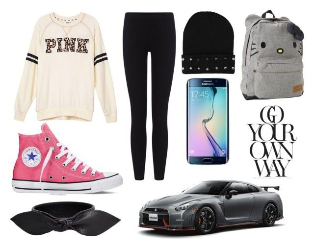 school 3 by dj-eyecandy on Polyvore featuring Victoria's Secret PINK, James Perse, Converse, Hello Kitty and Yves Saint Laurent