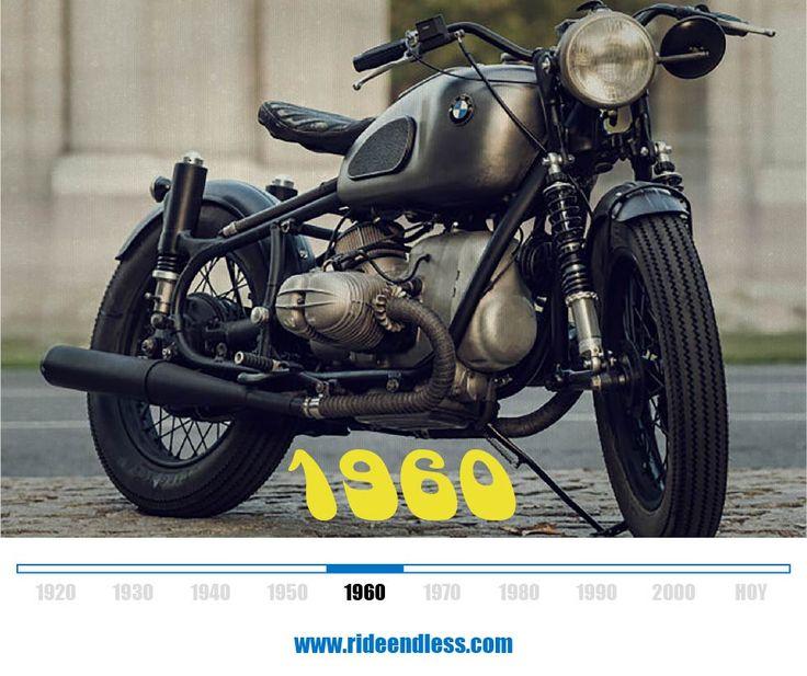 R69S 1960  El modelo deportivo superior de la gama, la R 69 S, se dio a conocer al público. Con 42 CV y una velocidad máxima de 175 km/h, se convirtió en el centro de atención en Alemania y más allá. El cigüeñal del motor de la R 69 S está equipado con un soporte amortiguador. La buena manejabilidad se consigue mediante el uso de un amortiguador hidráulico de la dirección. Galería: http://www.bikeexif.com/bmw-r69s-cafe-racer-dreams