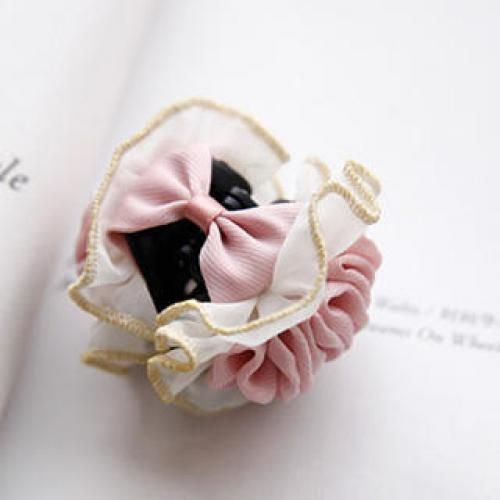 Frilled Bow Hair Clamp Pink - One Size
