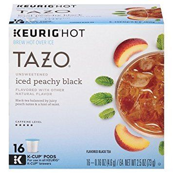 Tazo Unsweetened Iced Peachy Flavored Black Tea 16 K-cup ** More details can be found by clicking on the image.