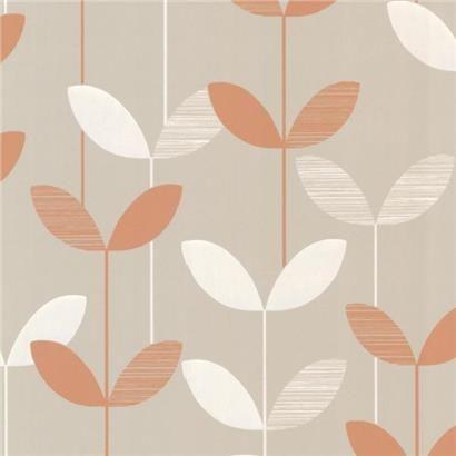 2533-20203 Orange Linear Leaf Wallpaper - Ernst - Elements Wallpaper By Decorline