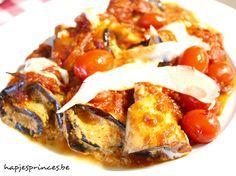 aubergine-geitenkaasrolletjes met kerstomatensaus gezond eten