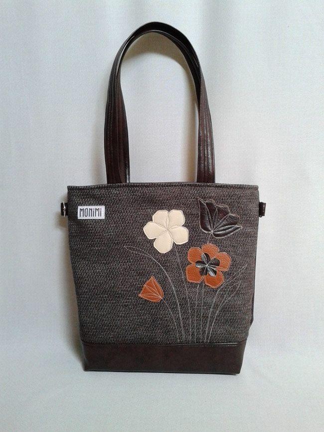 Nagyon szép, saját tervezésű textilbőr applikáció díszíti ezt a táskát. Erős, jó tartású barna szövetből és textilbőrből készült. A hátoldalán cipzáras zseb található. Young-bag 17 női #táska