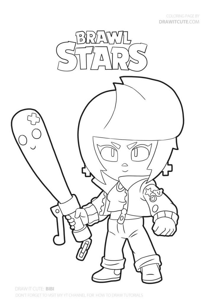 How To Draw Bibi Super Easy Brawl Stars Drawing Tutorial With Coloring Page Draw It Cute Brawl Braw Star Coloring Pages Coloring Pages Bat Coloring Pages