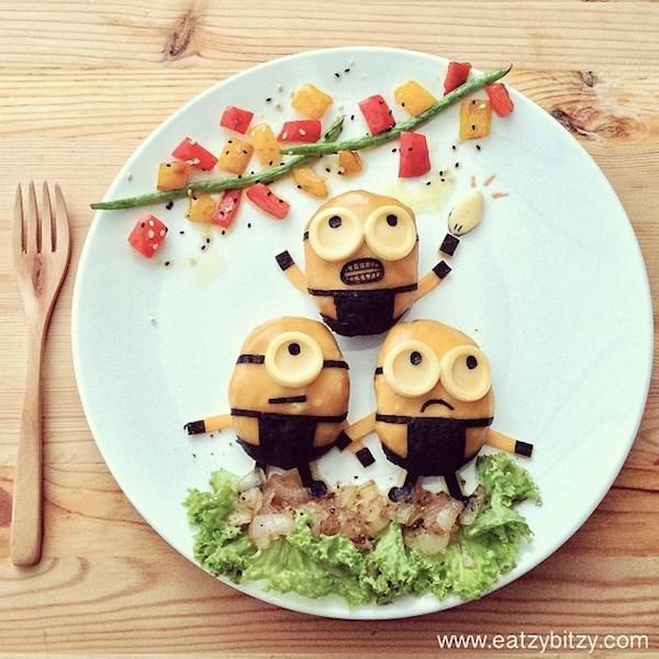 Minion Food, Minion Party, Creative Food Art, Cute Food Art, Easy Food Art,  Creative Snacks, Creative Ideas, Kids Meals, Toddler Meals