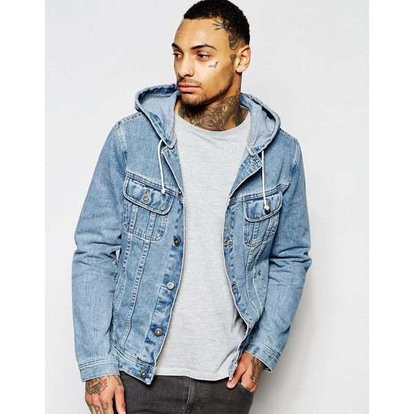 ASOS Denim Jacket With Hood in Mid Wash ($77) ❤ liked on Polyvore featuring - 25+ Best Hooded Denim Jacket Mens Ideas On Pinterest Male Style