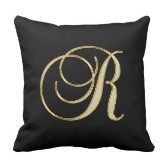 Elegant Black Gold Design Monogram Letter 'R ' Throw Pillow