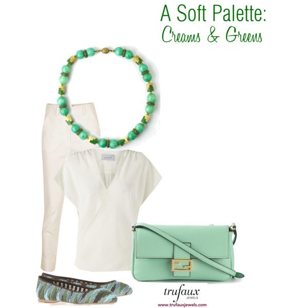 A Soft Palette: Creams & Greens by trufaux on Polyvore featuring a Jade & Ivory Galalith French Art Deco Puzzle Necklace by Louis Rousselet, from TruFaux Jewels.