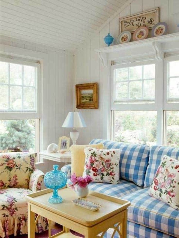 Living Rooms Country Style Alluring Cute Cottage Room Ideas With Retro Plaid Sofa Set 599 Times Like By User