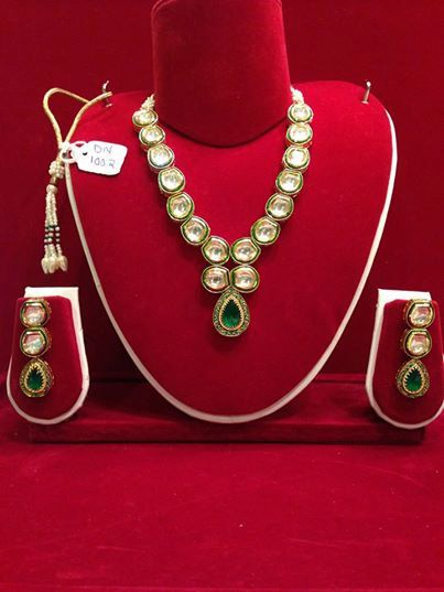 Handmade Green stone Kundan Gold plated Necklace Set with Minakari design