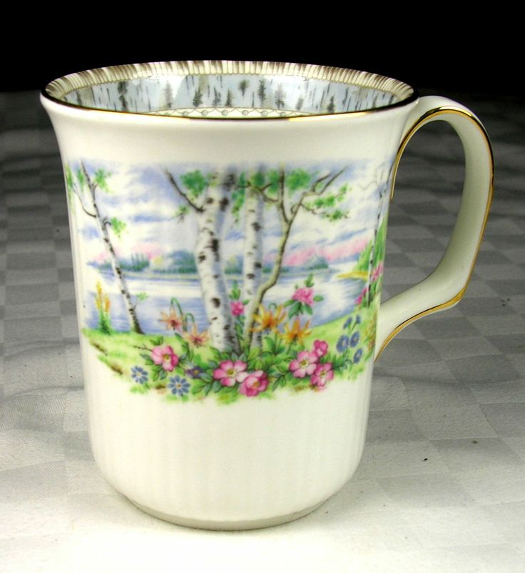 "Royal Albert Bone China Silver Birch 3 7 8"" Coffee Mug   eBay"