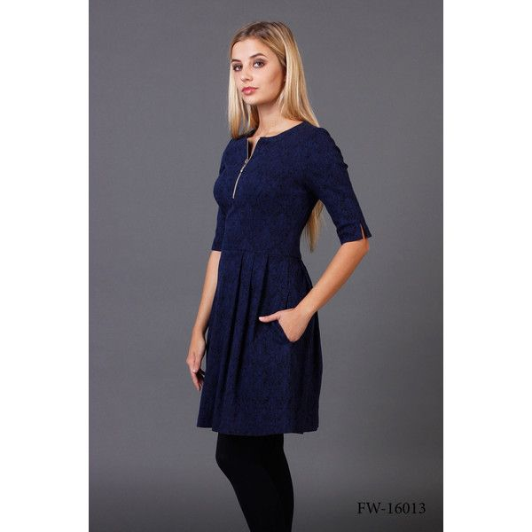 3/4 Sleeve Fit and Flare Navy Mini Dress With Pockets Fitted Bodice... (4.495 RUB) ❤ liked on Polyvore featuring dresses, dark olive, women's clothing, fit and flare cocktail dress, party dresses, navy blue cocktail dress, 3/4 sleeve cocktail dress and 3/4 sleeve dress