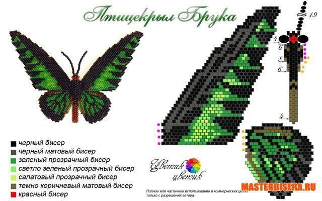Схемы бабочек из бисера потрясающей красоты