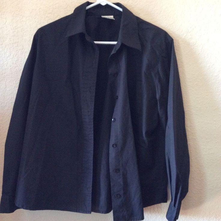 Allison Daley Petites Women's Black Button Down Blouse Shirt Size 12 #AllisonDaley #ButtonDownShirt