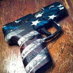 """The Victory Pattern features the 2nd Amendment text on the stripes of the American Flag. This is not a hydro dip, but an affordable non-permanent alternative called """"Pistol Skin"""". #gunskins #pistol"""