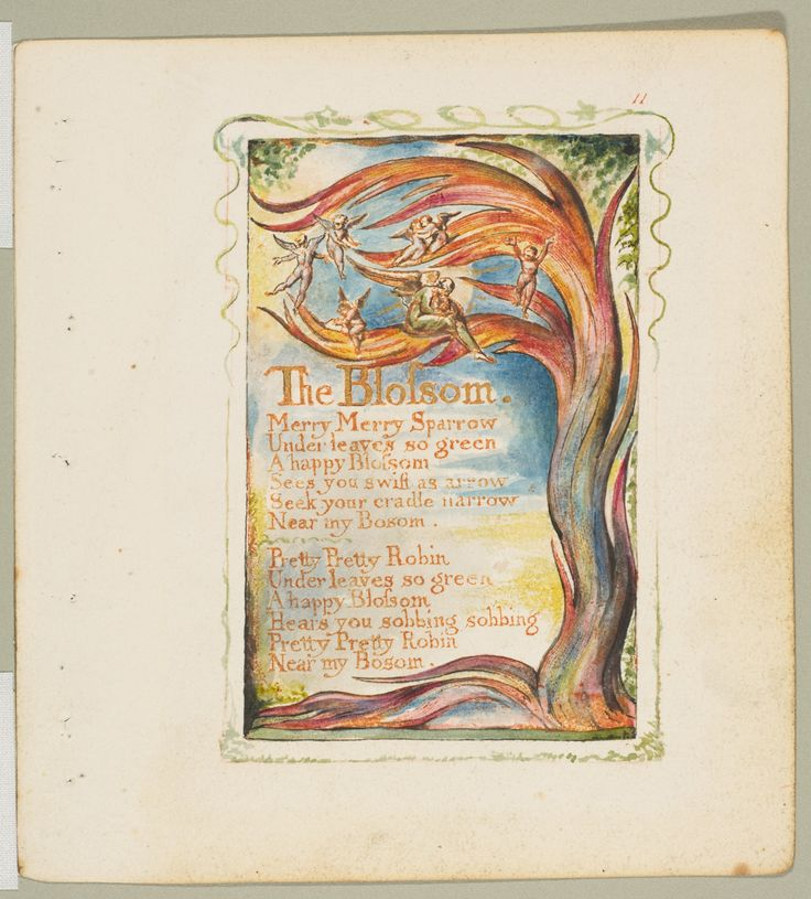 'The Blossom: Merry, Merry Sparrow' from 'Songs of Innocence and of Experience' (circa 1825). Relief etching printed in orange-brown ink and hand-coloured with watercolour and gold by William Blake (1757–1827 ).Image and text courtesy The Metropolitan Museum of Art