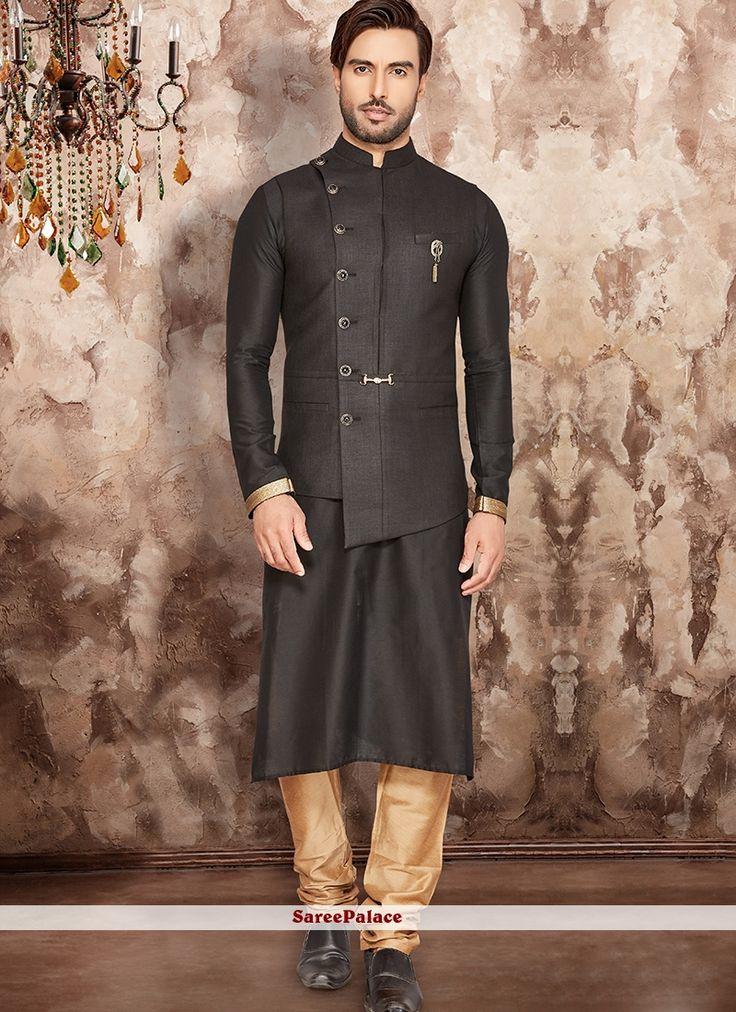 Black Art Silk Plain Nehru Jackets | Wedding dresses men ...