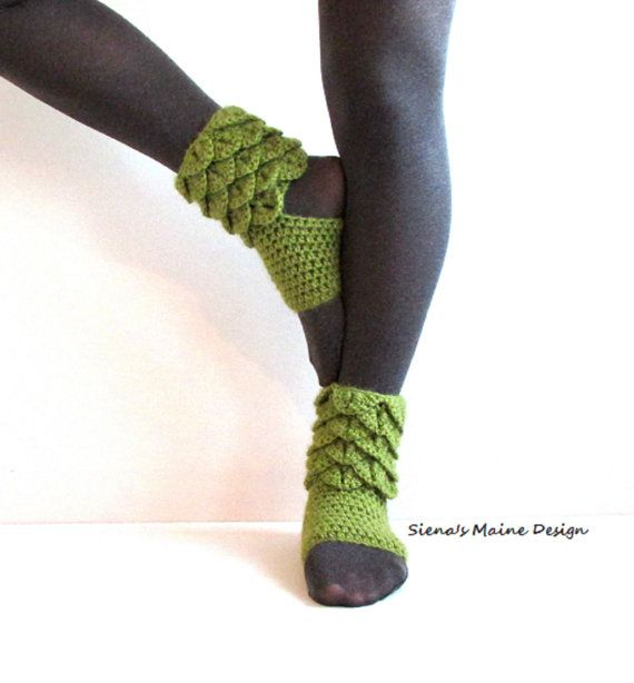 Alpaca Blend Yoga Socks in Avocado Crocodile by SienasMaineDesign, $30.00