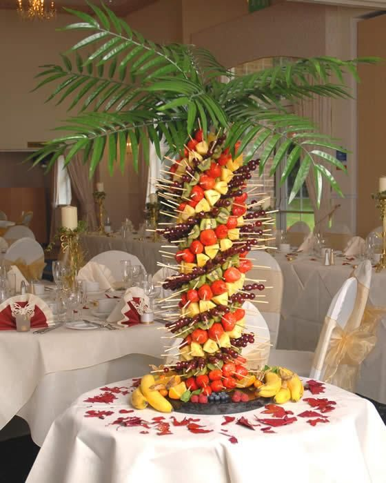 This would be really fun for a tropical-theme event or beach wedding, etc. Pineapple tree fruit kabob centerpiece.