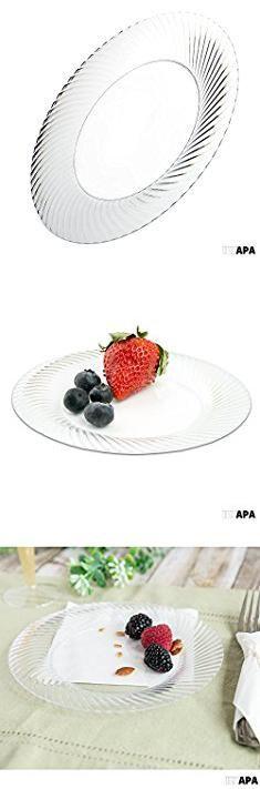 Appetizer Plates Bulk. 70 Premium Clear Plastic Plates for Party or Wedding - 7 Inch Fancy Disposable Plastics Plates.  #appetizer #plates #bulk #appetizerplates #platesbulk