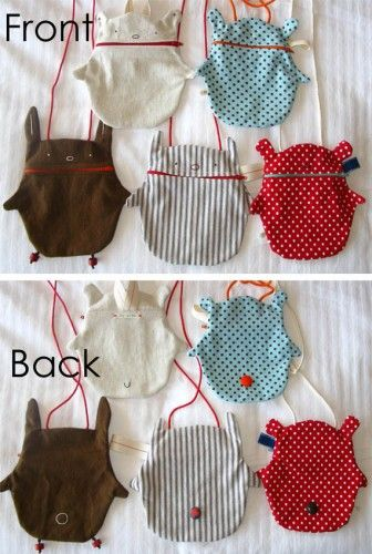 bear bags - little zippered bags - so cute